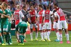 04-08-2015 NED: UEFA CL qualifying AFC Ajax - Rapid Wien, Amsterdam<br /> Ajax is al in de derde voorronde van de Champions League uitgeschakeld. Rapid Wien bleek een niet te nemen horde. Na de 2-2 in Wenen waren de Oostenrijkers in de Arena met 3-2 te sterk / Coach Frank de Boer, Davy Klaassen #10, Kenny Tete #23