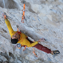 Evan Hau climbing Canada's second 5.15, Honour and Glory, 5.15a at the Coliseum in Echo Canyon, Canmore, AB