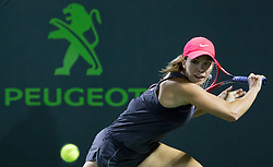 March 29, 2018 - Key Biscayne, Florida, United States - Danielle Collins, fom the USA, in action against Jelena Ostapenko, from Latvia, during her semi final match at the Miami Open. Ostapenko defeated Collins 7-6(1), 6-3 in Miami, on March 29, 2018. (Credit Image: © Manuel Mazzanti/NurPhoto via ZUMA Press)
