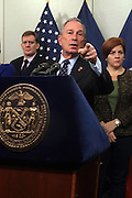 October 30, 2012- Brooklyn, NY: New York City Mayor Michael Bloomberg and top City Officials update New Yorkers and the Nation of efforts and numbers on city response to Hurricane Sandy held at the Office of Emergency Management on October 30, 2012 in Downtown Brooklyn, NY. The Super Hurricane has ravaged parts of the New York City area where the storm has brought 23 serious fires to parts of Staten Island, Brooklyn, Queens as well as City Island and the Bronx, including the destruction of more than 80 houses in the Breezy Point section of the Rockaways. (Terrence Jennings) .