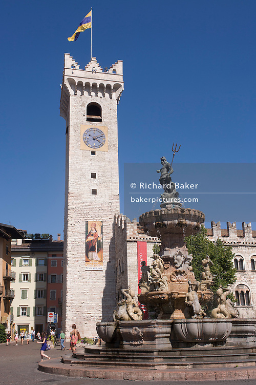 Eighteenth century Neptune fountain in Piazza Duomo, Trento.