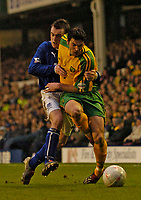 Photo. Jed Wee.<br /> Everton v Norwich City, FA Cup 3rd Round, Goodison Park, Liverpool. 03/01/2004.<br /> Everton's James McFadden (L) tries to get to grips with Norwich's Marc Edworthy.