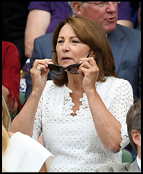 July 4, 2018 - London, London, United Kingdom - Wimbledon Tennis Championships-Day Three. The Duchess of Cambridge's Mother Carole Middleton sitting in the Royal Box on Centre Court  at the 2018 Wimbledon Tennis Championships. (Credit Image: © Andrew Parsons/i-Images via ZUMA Press)