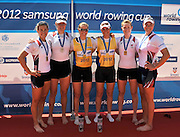 Belgrade, SERBIA. 2012  USA1 W2X.  bow. Erin Cafaro and Elle Logan, GBR W2-  gold medalist left, Helen GLOVER and right  Heather STANNING. USA2 W2X.  bow. Caroline LIND and Taylor RITZEL, Medalist  Women's pair. FISA World Cup I.   Sunday  06/05/2012 [Mandatory Credit. Peter Spurrier/Intersport Images]
