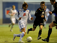 Fotball<br /> 13. Januar 2012 <br /> Vestlandsmesterskapet <br /> Sogndal v Haugesund<br /> Nikola Grubjesic (L) , Haugesund<br /> Henrik Furebotn (M) og Per Egil Flo (R) , Sogndal<br /> Foto: Astrid M. Nordhaug