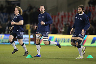 Sale Shark's Ross Harrison, Josh Beaumont & Andre Ostrikov warm up during the Aviva Premiership match between Sale Sharks and Saracens at the AJ Bell Stadium, Eccles, United Kingdom on 16 February 2018. Picture by George Franks.
