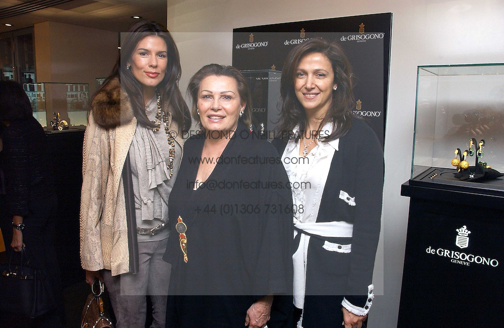 Left to right, CHRISTINA ESTRADA JUFFALI, her mother CHANTELLE LEE and MRS BOB MANOUKIAN at a lunch hosted by Fawaz Gruosi to celebrate the launch of De Grisogono's latest watch 'Be Eight' held at Nobu, 19 Old Park Lane, London W1 on 30th November 2006.<br /><br />NON EXCLUSIVE - WORLD RIGHTS