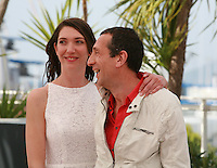 Zoe Bruneau and Richard Chevallier  at the photo call for the film  Goodbye to Language (Adieu au langage) at the 67th Cannes Film Festival, Wednesday 21st  May 2014, Cannes, France.