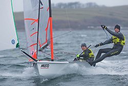 The annual RYA Youth National Championships is the UK's premier youth racing event. Day 3 with winds backing to the North the racing started on the Largs Channel.<br /> <br /> 2788, Freddie Peters, Elliott Wells, HISC, 29er Boy <br /> <br /> Images: Marc Turner / RYA<br /> <br /> For further information contact:<br /> <br /> Richard Aspland, <br /> RYA Racing Communications Officer (on site)<br /> E: richard.aspland@rya.org.uk<br /> m: 07469 854599