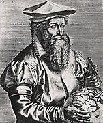 'Gerhardus Mercator, born Gerhard Kremer (1512-1594) Flemish map maker and geographer. Inventor of the Mercator Projection. From ''Imagines doctorum vivorum ...'. Antwerp, 1587, by Philippe Galle.'