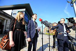 "© Licensed to London News Pictures. 9/05/2016. Belfast, Northern Ireland, UK. Daniel McArthur with Amy speak to the media before entering at Belfast High Court for the start Appeal hearing over gay marriage cake row with Ashers Baking Company. The legal appeal by Ashers Baking Company in the controversial 'gay cake' case is to be heard over two days. In May last year a judge at Belfast County Court ruled that the bakery had acted unlawfully. The court ordered Ashers to pay £500 damages after Judge Isobel Brownlie said the customer had been treated ""less favourably"" contrary to the law and the bakery had breached political and sexual orientation discrimination regulations. But the McArthur family who own and run Ashers decided to challenge the ruling following consultations with their legal advisors. The family has been given the full support of The Christian Institute, which has funded their defence costs. The legal case followed a decision in May 2014 by Ashers to decline an order placed at its Belfast store by a gay rights activist who asked for a cake featuring the Sesame Street puppets, Bert and Ernie, and the campaign slogan, 'Support Gay Marriage'. The customer also wanted the cake to feature the logo of a Belfast-based campaign group QueerSpace. Ashers, owned by Colin and Karen McArthur, refused to make the cake because it carried a message contrary to the family's firmly-held Christian beliefs. They were supported by their son Daniel, the General Manager of the company. But the Equality Commission for Northern Ireland (ECNI) launched a civil action against the family-run bakery, claiming its actions violated equality laws in Northern Ireland and alleging discrimination under two anti-discrimination statutes – The Equality Act (Sexual Orientation) Regulations (NI) 2006 and The Fair Employment and Treatment (NI) Order 1998. Photo credit : Paul McErlane/LNP"