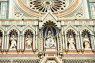 Close up of the Renaissance statues and architecture of the Florence Duomo, Italy .<br /> <br /> Visit our ITALY PHOTO COLLECTION for more   photos of Italy to download or buy as prints https://funkystock.photoshelter.com/gallery-collection/2b-Pictures-Images-of-Italy-Photos-of-Italian-Historic-Landmark-Sites/C0000qxA2zGFjd_k<br /> .<br /> <br /> Visit our MEDIEVAL PHOTO COLLECTIONS for more   photos  to download or buy as prints https://funkystock.photoshelter.com/gallery-collection/Medieval-Middle-Ages-Historic-Places-Arcaeological-Sites-Pictures-Images-of/C0000B5ZA54_WD0s