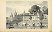 Shuwallah Gaut At Benares [Varanas on the banks of the river Ganges in Uttar Pradesh, India] From the book ' The Oriental annual, or, Scenes in India ' by the Rev. Hobart Caunter Published by Edward Bull, London 1834 engravings from drawings by William Daniell