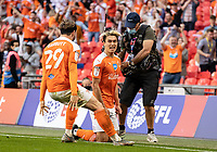 Blackpool's Kenny Dougall celebrates scoring his side's second goal <br /> <br /> Photographer Andrew Kearns/CameraSport<br /> <br /> The EFL Sky Bet League One Play-Off Final - Blackpool v Lincoln City - Sunday 30th May 2021 - Wembley Stadium - London<br /> <br /> World Copyright © 2021 CameraSport. All rights reserved. 43 Linden Ave. Countesthorpe. Leicester. England. LE8 5PG - Tel: +44 (0) 116 277 4147 - admin@camerasport.com - www.camerasport.com