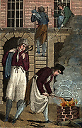 'Plumbers working on a building. In the foreground solder for sealing joints  is being melted. Hand-coloured woodcut from ''The Book of English Trades'', London, 1823.'