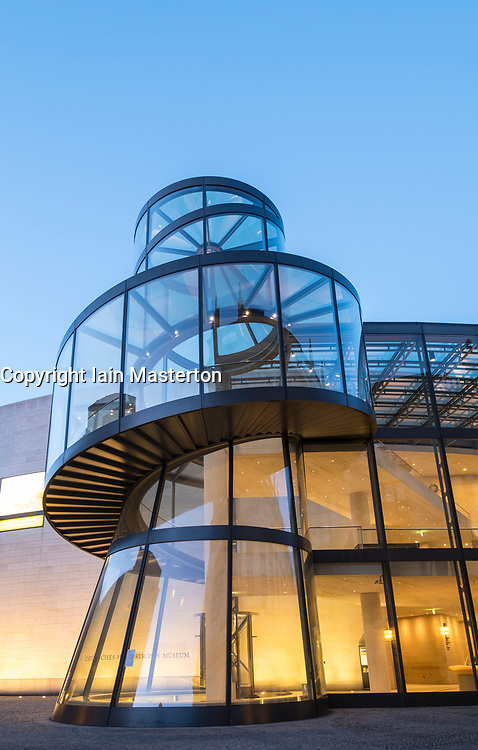 Evening view of Modern extension to German History Museum ( Deutsches Historisches Museum) by IM Pei in Mitte Berlin Germany