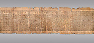 """Ancient Egyptian Book of the Dead papyrus - Spell 81a assuming the form of a lotus associated with the sun god, Iufankh's Book of the Dead, Ptolemaic period (332-30BC).Turin Egyptian Museum. Grey Background<br /> <br /> <br /> The spell reads """" I am a pure lotus that has ascended by the Sinlight and ia at Ra's nose. I spend my time shedding it on Horus. I am the pure lotus that ascended from the field"""". <br /> <br /> The translation of  Iuefankh's Book of the Dead papyrus by Richard Lepsius marked a truning point in the studies of ancient Egyptian funereal studies. .<br /> <br /> If you prefer to buy from our ALAMY PHOTO LIBRARY  Collection visit : https://www.alamy.com/portfolio/paul-williams-funkystock/ancient-egyptian-art-artefacts.html  . Type -   Turin   - into the LOWER SEARCH WITHIN GALLERY box. Refine search by adding background colour, subject etc<br /> <br /> Visit our ANCIENT WORLD PHOTO COLLECTIONS for more photos to download or buy as wall art prints https://funkystock.photoshelter.com/gallery-collection/Ancient-World-Art-Antiquities-Historic-Sites-Pictures-Images-of/C00006u26yqSkDOM"""