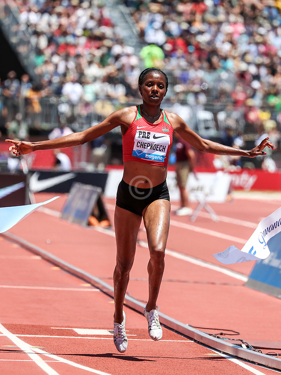 Beatrice Chepkoech, Kenya, wins womens 3000 meter steeplechase in 8:55.58 at 2019 The Prefontaine Classic Track & Field<br /> IAAF Diamond League