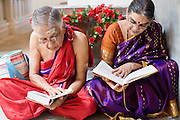 18 MAY 2008 -- MARICOPA, AZ: Hindus read from their religious scripture during the dedication of a new Hindu temple in Maricopa, AZ, Sunday. More than 3,000 Hindus from Arizona, southern California and New Mexico came to Maricopa, AZ, a small town in the desert about 50 miles south of Phoenix, for the dedication of the Maha Ganapati Temple of Arizona. It is the first Hindu temple in Arizona designed according to ancient South Indian Hindu architectural guides. Craftsmen from India came to Maricopa to complete the interior details of the temple. The dedication ceremonies lasted three days.   Photo by Jack Kurtz / ZUMA Press