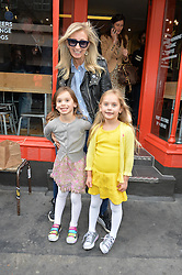 JENNY HALPERN-PRINCE and her twin daughters, l-r SAM BELLE PRINCE and CHARLIE PRINCE at a party to celebrate the launch of Top Dog at 48 Frith Street, Soho, London on 27th May 2015