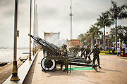 01 FEBRUARY 2013 - PHNOM PENH, CAMBODIA: Cambodian artillery fires a 101 gun salute in honor of former King Norodom Sihanouk during his funeral procession in Phnom Penh.     PHOTO BY JACK KURTZ