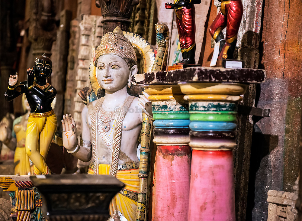 Imported artifacts and decorative items from India.