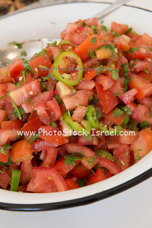 Freshly cut Tomato and peppers salad