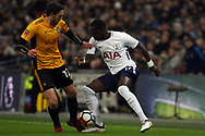 Moussa Sissoko of Tottenham Hotspur (R) in action with Ben Tozer of Newport County (L). The Emirates FA Cup, 4th round replay match, Tottenham Hotspur v Newport County at Wembley Stadium in London on Wednesday 7th February 2018.<br /> pic by Steffan Bowen, Andrew Orchard sports photography.