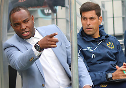 Cape Town City coaches Benni McCarthy and Ian Taylor against Polokwane City in an MTN8 quarter-final match at the Cape Town Stadium on August 12, 2017 in Cape Town, South Africa.