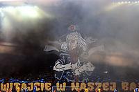 2019.04.09 Bialystok Pilka nozna Polfinal Pucharu Polski sezon 2018/2019 Jagiellonia Bialystok ( zolto-czerwone ) - Miedz Legnica N/z sektor kibicow Jagiellonii; zadymienie fot Michal Kosc / AGENCJA WSCHOD