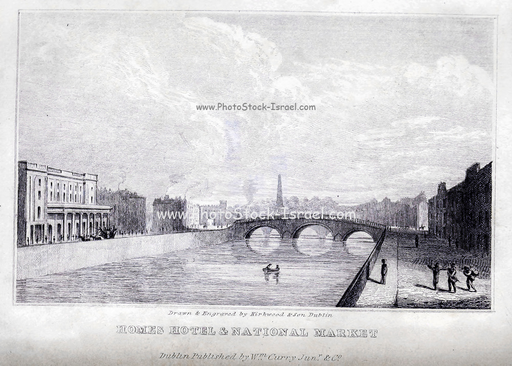 WELLESLEY NATIONAL MARKET; Military Gate and Wellington Testimonial in the distance From the guide book ' The new picture of Dublin : or Stranger's guide through the Irish metropolis, containing a description of every public and private building worthy of notice ' by Hardy, Philip Dixon, 1794-1875. Published in Dublin in 1831 by W. Curry.