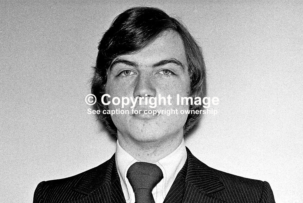 David Burnside, candidate, Vanguard Unionist, N Antrim, N Ireland Assembly Election, 1973066000465. Unsuccessful. Later joined Ulster Unionist party.<br /> <br /> Copyright Image from Victor Patterson, Belfast, UK<br /> <br /> t: +44 28 9066 1296 (from Rep of Ireland 048 9066 1296)<br /> m: +44 7802 353836<br /> e: victorpattersonbelfast@gmail.com<br /> <br /> www.images4media.com<br /> <br /> Please see my full Terms and Conditions of Use at https://www.images4media.com/p/terms-conditions - it is IMPORTANT that you familiarise yourself with them.<br /> <br /> Images used online incur an additional cost. This cost should be agreed in writing in advance. Online images must be visibly watermarked i.e. © Victor Patterson or that of the named photographer within the body of the image. The original metadata must not be deleted from images used online.<br /> <br /> This image is only available for the use of the download recipient i.e. television station, newspaper, magazine, book publisher, etc, and must not be passed on to a third party. It is also downloaded on condition that each and every usage is notified within 7 days to victorpattersonbelfast@gmail.com.<br /> <br /> The right of Victor Patterson (or the named photographer) to be identified as the author is asserted in accordance with The Copyright Designs And Patents Act (1988). All moral rights are asserted.