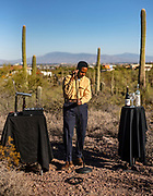 """Fat Tony while filming a performance of his latest album """"Exotica"""" in Tucson, Arizona on Tuesday, Nov. 10, 2020."""