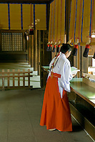 """Miko Shinto Priest Assistants - Miko is a Japanese term that in ancient times meant female shaman or shamaness or even prophet or priestess.  In more recent times, the term has come to mean """"shrine maiden"""" that is a girl who serves as an assistant at Shinto shrines."""
