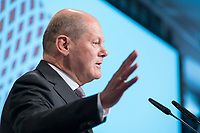 09 MAY 2019, BERLIN/GERMANY:<br /> Olaf Scholz, SPD, Bundesfinanzminister, haelt eine Rede, Wirtschaftskonferenz, Wirtschaftsforum der SPD, Kalkscheune<br /> IMAGE: 20190509-01-216