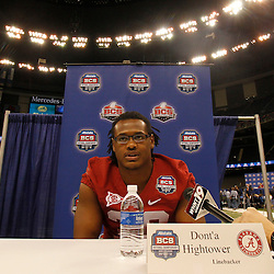 January 6, 2012; New Orleans, LA, USA; Alabama Crimson Tide linebacker Dont'a Hightower (30) talks during Media Day for the 2012 BCS National Championship game to be played on January 9, 2012 against the LSU Tigers at the Mercedes-Benz Superdome.  Mandatory Credit: Derick E. Hingle-US PRESSWIRE