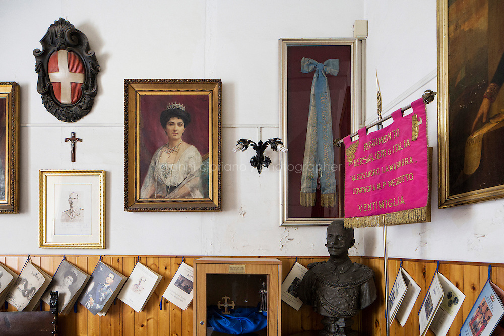 ROME, ITALY - 29 JULY 2014: Interior of the office of Captain Ugo d'Atri, President of the National Institute for the Honor Guards of the real tombs of  the Pantheon, devoted to the Royal House of Savoy which ruled the Kingdom of Italy from 1861 to the end of World War II, in Rome, Italy, on July 29th 2014.<br /> <br /> The National Institute for the Honor Guards to the royal tombs of the Pantheon is a monarchic-oriented whose goal is to watch over the royal tombs at the Pantheon. Italy's first king, Vittorio Emanuele II and his son Umberto I, as well as Umberto's wife Queen Margherita are entombed in the Pantheon.
