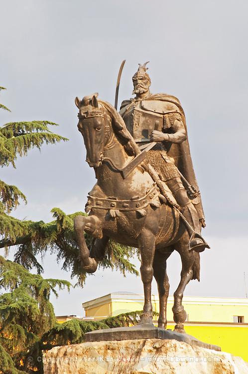 The statue of the 15th century warrior and national hero Skanderburg Skanderbeg on a huge stone base. The Tirana Main Central Square, Skanderbeg Skanderburg Square. Tirana capital. Albania, Balkan, Europe.