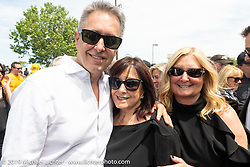 Cory Ness with his Mom Beverly and sister Sherri Foxworthy at the Arlen Ness Memorial - Celebration of Life at the Arlen Ness Motorcycles store. Dublin, CA, USA. Saturday, April 27, 2019. Photography ©2019 Michael Lichter.
