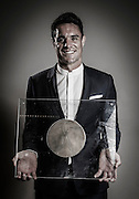 Dan Carter is awarded the grand prize from France's Academie des Sports, a trophy given to celebrate the best sporting achievement of the year.<br /> He is the first New Zealander to ever receive the award, which is voted on by the Academie des Sports.<br /> Copyright photo: Panoramic / www.photosport.nz