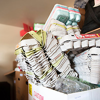 Stacks of egg cartons sit in a box in the recycling depot trailer at the Gallup Recycling Center on Montoya in Gallup. These reusable materials are collected and stored in the trailer as a resource to the public.