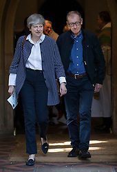 © Licensed to London News Pictures. 18/06/2017. Reading, UK. Prime Minister Theresa May attends church in her constituency with her husband Philip. Photo credit: Peter Macdiarmid/LNP