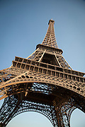 The iconic Eiffel Tower seen from below in Paris, France