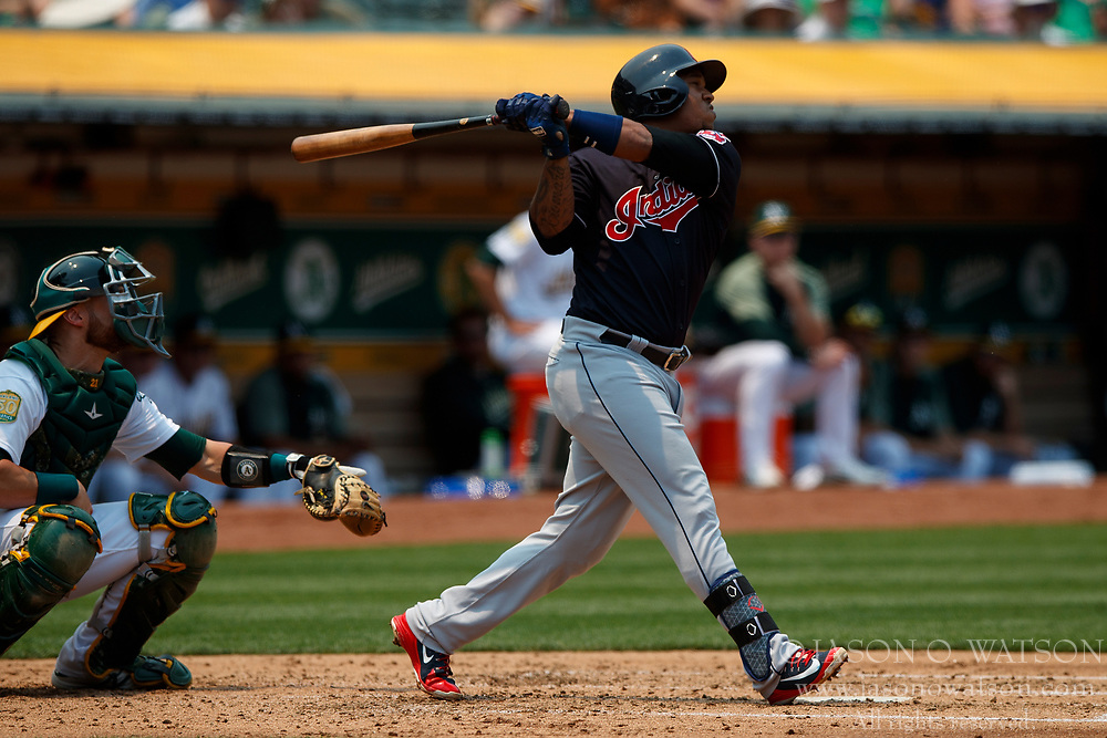OAKLAND, CA - JULY 01:  Jose Ramirez #11 of the Cleveland Indians at bat against the Oakland Athletics during the third inning at the Oakland Coliseum on July 1, 2018 in Oakland, California. The Cleveland Indians defeated the Oakland Athletics 15-3. (Photo by Jason O. Watson/Getty Images) *** Local Caption *** Jose Ramirez
