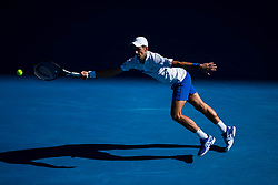 January 19, 2019 - Melbourne, VIC, U.S. - MELBOURNE, VIC - JANUARY 19: NOVAK DJOKOVIC (SRB) during day six match of the 2019 Australian Open on January 19, 2019 at Melbourne Park Tennis Centre Melbourne, Australia (Photo by Chaz Niell/Icon Sportswire) (Credit Image: © Chaz Niell/Icon SMI via ZUMA Press)