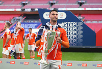 Blackpool's Gary Madine with the trophy<br /> <br /> Photographer Rob Newell/CameraSport<br /> <br /> The EFL Sky Bet League One Play-Off Final - Blackpool v Lincoln City - Sunday 30th May 2021 - Wembley Stadium - London<br /> <br /> World Copyright © 2021 CameraSport. All rights reserved. 43 Linden Ave. Countesthorpe. Leicester. England. LE8 5PG - Tel: +44 (0) 116 277 4147 - admin@camerasport.com - www.camerasport.com