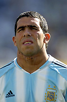 28/08/04 - ATHENS - GREECE -  - OLYMPIC FOOTBALL - FINAL MATCH - MENS  -  At the Olympic Stadium in Athens<br />ARGETNINA (1) win over PARAGUAY (0).<br />Argentine player N* 10 CARLOS TEVEZ  before the match.<br />© Gabriel Piko / Argenpress.com / Piko-Press