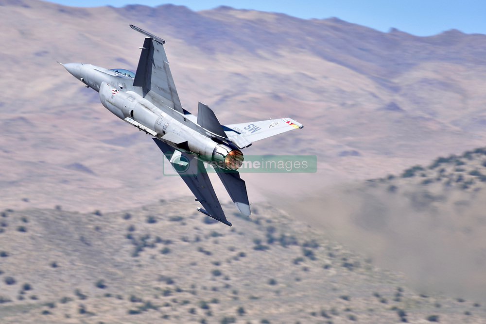 September 13, 2018 - Reno, Nevada, U.S. - RENO, NV - SEPTEMBER 13: The F-16 Fighting Falcon performs precision aerial maneuvers at the 55th National Championship Air Races the only closed course pylon racing event in the world, and is the world's longest running air race held in Reno, NV. (Photos by Lyle Setter/Icon Sportswire) (Credit Image: © Lyle Setter/Icon SMI via ZUMA Press)
