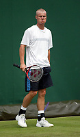 Photograpah: Scott Heavey.<br />Day 1 of the Stella Artois Championship at Queens Club. 09/06/2003.<br />Leyton Hewitt looks in a confident mood during warm up.