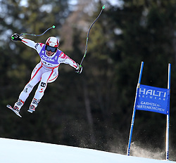 10.02.2011, Kandahar, Garmisch Partenkirchen, GER, FIS Alpin Ski WM 2011, GAP, Herren Abfahrtstraining, im Bild Bjoern Sieber (AUT) takes to the air competing in the first men's downhill training run on the Kandahar race piste at the 2011 Alpine skiing World Championships, EXPA Pictures © 2011, PhotoCredit: EXPA/ M. Gunn